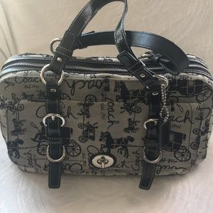 Coach black/gray stagecoach med large purse EUC